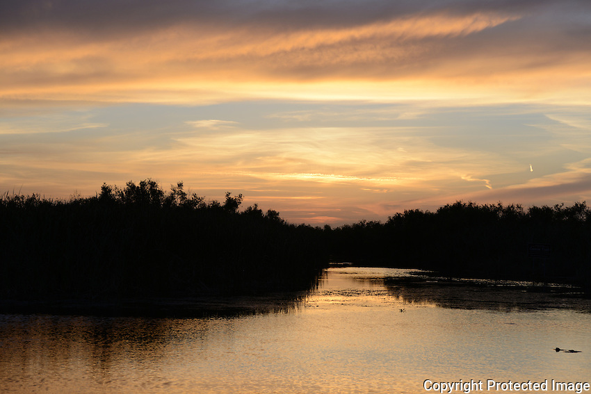 Beautiful pastel color sky over an Everglades canal. Photographed at Arthur Marshall Loxahatchee Preserve, Boynton Beach, Florida