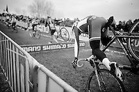 Jakub Kurty (SVK) crashing over the barriers<br /> <br /> Men Juniors Race<br /> <br /> 2015 UCI World Championships Cyclocross <br /> Tabor, Czech Republic