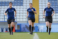 20190304 - LARNACA , CYPRUS : German assistant referee Katrin Rafalski (left) , German referee Riem Hussein (middle) , Scottish assistant referee Kylie Cockburn (right) pictured during a women's soccer game between Czech Republic and South Africa , on Monday 4 March 2019 at the Antonis Papadopoulos Stadium in Larnaca , Cyprus . This is the third game in group A for Both teams during the Cyprus Womens Cup 2019 , a prestigious women soccer tournament as a preparation on the Uefa Women's Euro 2021 qualification duels. PHOTO SPORTPIX.BE | STIJN AUDOOREN
