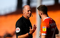 Referee Andy Haines talks to Blackpool's James Husband<br /> <br /> Photographer Alex Dodd/CameraSport<br /> <br /> The EFL Sky Bet League One - Blackpool v MK Dons  - Saturday September 14th 2019 - Bloomfield Road - Blackpool<br /> <br /> World Copyright © 2019 CameraSport. All rights reserved. 43 Linden Ave. Countesthorpe. Leicester. England. LE8 5PG - Tel: +44 (0) 116 277 4147 - admin@camerasport.com - www.camerasport.com