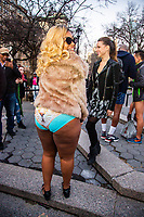 NEW YORK, NY - JANUARY 12: Participants of the No Pants Subway Ride pose for a picture at Union square after taking a ride on the NYC subway system on January 12, 2020 in New York. The annual event, in which participants board a subway car in January while not wearing any pants while behaving as though they do not know each other, began as a joke by the public prank group Improv Everywhere in New York City and has since spread around the world, with enthusiasts in around 60 cities and 29 countries across the globe, according to the organization's site.   (Photo by Pablo Monsalve/VIEWpress)