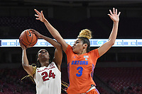 Arkansas' Taylah Thomas takes a shot in front of Florida's Lavender Briggs Sunday Jan. 26, 2020 at Bud Walton Arena. Arkansas won 79-57 and play again on the road Thursday at Alabama. See nwaonline.com/uabball/ for a gallery of images from the game. (NWA Democrat-Gazette/J.T. Wampler)