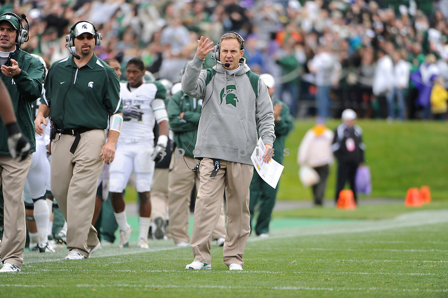 MARK DANTONIO, of the Michigan State Spartans, in action during the Spartans game against the Northwestern Wildcats at Ryan Field on October 23, 2010  in Evanston...Michigan State beat Northwestern 35-27.