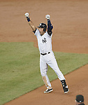 Derek Jeter (Yankees),<br /> SEPTEMBER 25, 2014 - MLB :<br /> Derek Jeter of the New York Yankees celebrates after hitting the game winning RBI single in the bottom of the ninth inning during the Major League Baseball game against the Baltimore Orioles at Yankee Stadium in the Bronx, New York, United States. (Photo by AFLO)
