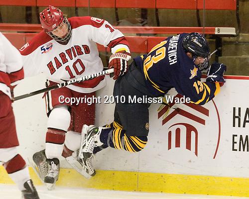 Eric Kroshus (Harvard - 10), Yuri Bouharevich (Quinnipiac - 13) - The visiting Quinnipiac University Bobcats defeated the Harvard University Crimson 3-1 on Wednesday, December 8, 2010, at Bright Hockey Center in Cambridge, Massachusetts.