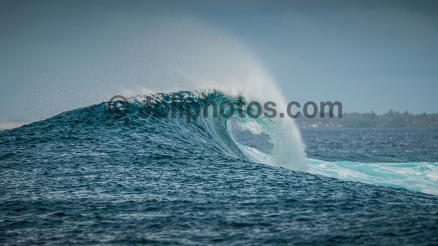Four Seasons,Kuda Huraa, Maldives (Sunday, August 16, 2015) The surf was still in the 4'-6' range today from the South East with very clean conditions.  There was a session at the famed 'Sultans Point' in the morning which got very crowded at times.  The wind was light from the North West.   Photo: joliphotos.com