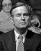 "United States Ambassador to China George H.W. Bush listens to a U.S. Senator's questions during his confirmation hearing to be Director of the U.S. Central Intelligence Agency (CIA) in Washington, D.C. on December 16, 1975..Credit: Benjamin E. ""Gene"" Forte / CNP"