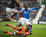 Hearts v St Johnstone.....05.03.13      SPL.Jamie MacDonald denies Nigel Hasselbaink.Picture by Graeme Hart..Copyright Perthshire Picture Agency.Tel: 01738 623350  Mobile: 07990 594431