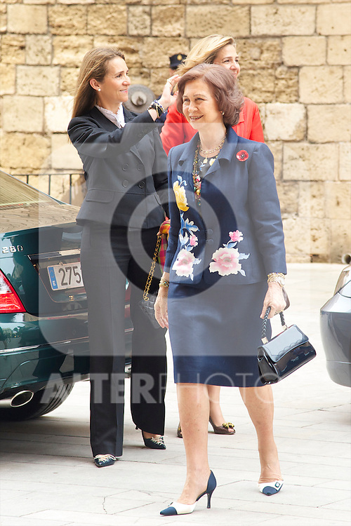 Spanish Queen Sofia, Prince Felipe of Spain, Princess Letizia of Spain, Princess Leonor, Princess Sofia, Princess Cristina and Princess Elena attend Easter Mass, at Palma de Mallorca Cathedral on April 24, 2011 in Palma de Mallorca, Spain