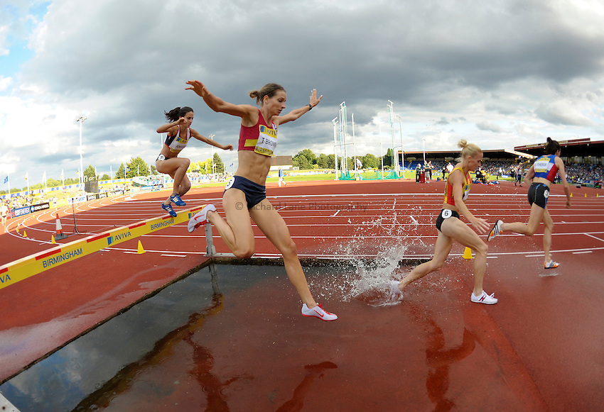 Photo: Ady Kerry/Richard Lane Photography. Aviva National Championships, Incorporating the Team GB Selection Trials, Birmingham. 13/07/2008. .Tina Brown clears the  water jump during the women's 3000m steeplechase.