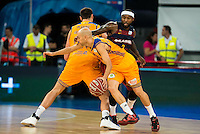 Herbalife Gran Canaria's player Darko Planinic and Albert Oliver and FC Barcelona Lassa player Tyrese Rice during the final of Supercopa of Liga Endesa Madrid. September 24, Spain. 2016. (ALTERPHOTOS/BorjaB.Hojas) NORTEPHOTO.COM