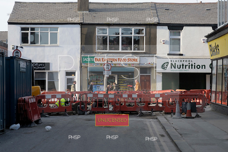 Deansgate road improvements at the junction with Edward Street  Blackpool Lancashire UK......© Phill Heywood.