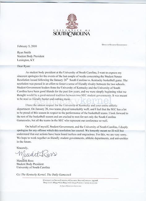 South Carolina apology letter to University of Kentucky fans.