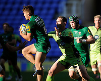 George North of Northampton Saints challenges Alex Lewington of London Irish during the Premiership Rugby match between London Irish and Northampton Saints at the Madejski Stadium on Saturday 4th October 2014 (Photo by Rob Munro)