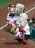 """""""Thomas Jefferson (3) tackles """"Teddy Roosevelt (26),  """"George Washington (1),"""" and """"Abraham Lincoln (16)"""" during the Geico Presidents Race between the third and fourth innings of the first game of a double-header pitting the New York Mets against the Washington Nationals at Nationals Park in Washington, D.C. on Sunday, August 27, 2017.<br /> Credit: Ron Sachs / CNP<br /> (RESTRICTION: NO New York or New Jersey Newspapers or newspapers within a 75 mile radius of New York City)"""