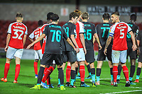 Liverpools midfielder Thomas Hill (99) in mellee of players during the The Leasing.com Trophy match between Fleetwood Town and Liverpool U21 at Highbury Stadium, Fleetwood, England on 25 September 2019. Photo by Stephen Buckley / PRiME Media Images.