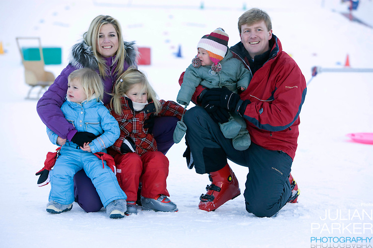Crown Prince Willem Alexander, and Crown Princess Maxima of Holand with Daughters, Princess Alexia, Princess Catharina Amalia and Princess Ariane attend a Photocall with Members of The Dutch Royal Family during their Winter Ski Holiday in Lech Austria