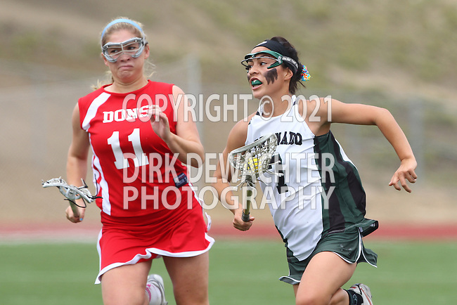 San Diego, CA 05/21/11 - Michaela Guerrera (Coronado #7) and Elisse Hall (Cathedral Catholic #11) in action during the 2011 CIF San Diego Division 2 Girls lacrosse finals between Cathedral Catholic and Coronado.