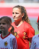 20190601 - LEUVEN , BELGIUM : Belgian Davina Philtjens pictured during the female soccer game between the Belgian Red Flames and Thailand , a friendly game as a preparation for Thailand for the World Championship in France 2019, Saturday 1 th June 2019 at OHL Stadion Den Dreef in Leuven , Belgium. PHOTO SPORTPIX.BE | DAVID CATRY