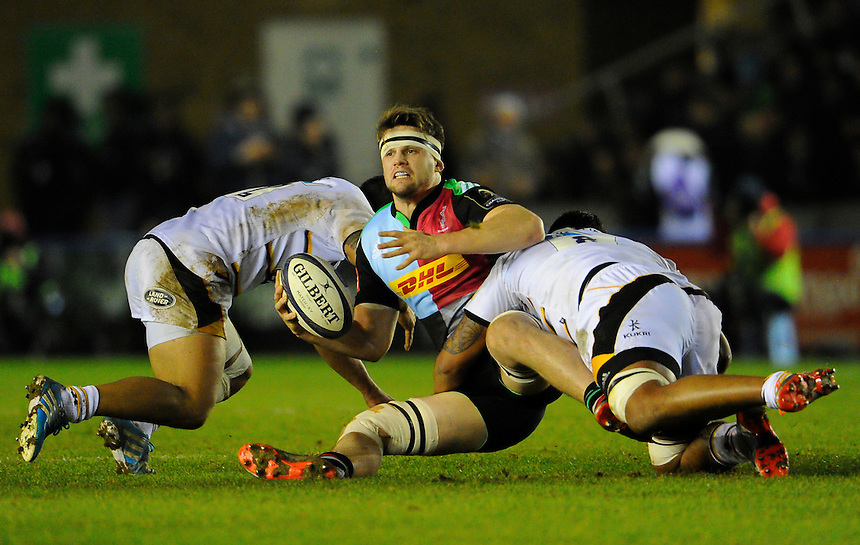 Harlequins' Jack Clifford in action during todays match<br /> <br /> Photographer Ashley Western/CameraSport<br /> <br /> Rugby Union - European Rugby Champions Cup - Pool 2 - Harlequins v Wasps - Saturday 17th January 2015 - The Stoop - London<br /> <br /> &copy; CameraSport - 43 Linden Ave. Countesthorpe. Leicester. England. LE8 5PG - Tel: +44 (0) 116 277 4147 - admin@camerasport.com - www.camerasport.com