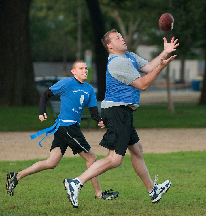 UNITED STATES - OCTOBER 04:  Rep. Jon Runyan, R-N.J., catches a pass during a congressional football practice on the Mall in preparation for the upcoming game between members of Congress and the Capitol Police.  (Photo By Tom Williams/Roll Call)