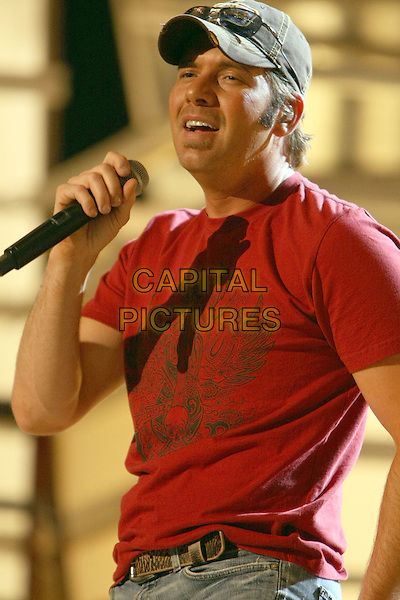 RODNEY ATKINS.ACM Rehearsals Day One held at the MGM Grand Hotel Casino, Las Vegas, Nevada, USA..May 15th, 2008.half length stage concert live gig performance music singing red t-shirt baseball cap hat.CAP/ADM/MJT.© MJT/AdMedia/Capital Pictures.
