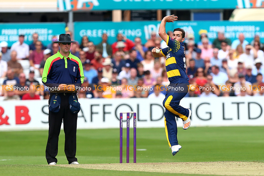 Andrew Salter in bowling action for Glamorgan during Essex Eagles vs Glamorgan, NatWest T20 Blast Cricket at The Cloudfm County Ground on 16th July 2017