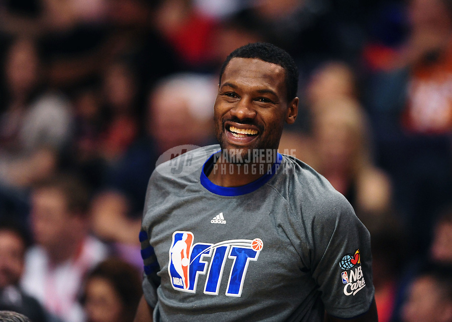 Jan. 28, 2012; Phoenix, AZ, USA; Memphis Grizzlies guard Tony Allen smiles during the game against the Phoenix Suns at the US Airways Center. The Suns defeated the Grizzlies 86-84. Mandatory Credit: Mark J. Rebilas-USA TODAY Sports