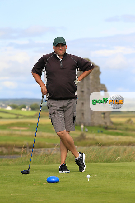 Tony Cleary (Dromoland Castle) on the 13th tee during Round 2 of The South of Ireland in Lahinch Golf Club on Sunday 27th July 2014.<br /> Picture:  Thos Caffrey / www.golffile.ie