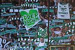 Stockholm 2013-06-23 Fotboll Superettan , Hammarby IF - &Auml;ngelholms FF :  <br /> Hammarby Bajen fans med flagga med texten &quot;S&ouml;derstadion&quot; p&aring; Norra l&auml;ktaren p&aring; S&ouml;derstadion<br /> (Foto: Kenta J&ouml;nsson) Nyckelord:  supporter fans publik supporters