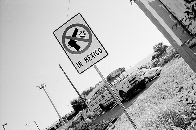 "Naco, Arizona.USA.October 19, 2006..A small town on the USA border with Mexico that has a legal border crossing or ""port of entry"". Thousands of illegal immigrates cross into the USA from in and around this town. Its' population is mainly Mexican - legal and illegal. ."