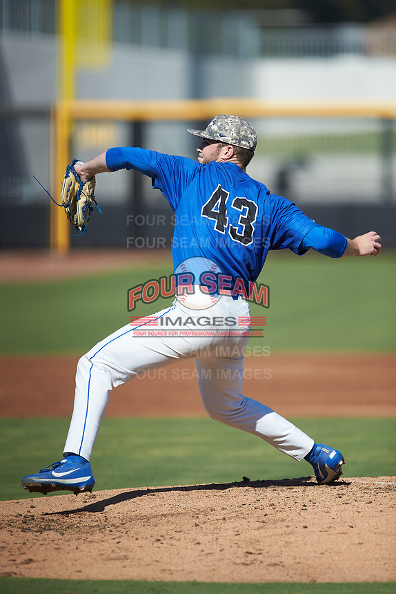 Duke Blue Devils starting pitcher Bryce Jarvis (43) in action against the Coastal Carolina Chanticleers at Segra Stadium on November 2, 2019 in Fayetteville, North Carolina. (Brian Westerholt/Four Seam Images)