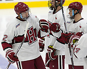 John Marino (Harvard - 12), Lewis Zerter-Gossage (Harvard - 77), Ryan Donato (Harvard - 16) - The Harvard University Crimson defeated the visiting Boston College Eagles 5-2 on Friday, November 18, 2016, at the Bright-Landry Hockey Center in Boston, Massachusetts.