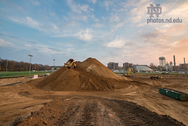 November 15, 2016; The construction of the Ricci Family Fields and geothermal well field project. The project involves a phased excavation of the site, drilling of approximately 679 geothermal wells, the construction of three new synthetic turf fields, and construction of a new support building for use by the Notre Dame Marching Band.  (Photo by Barbara Johnston/University of Notre Dame)