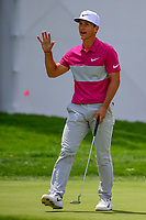 Thorbjorn Olesen (DEN) after sinking his putt on 10 during Saturday's round 3 of the World Golf Championships - Bridgestone Invitational, at the Firestone Country Club, Akron, Ohio. 8/5/2017.<br /> Picture: Golffile | Ken Murray<br /> <br /> <br /> All photo usage must carry mandatory copyright credit (&copy; Golffile | Ken Murray)