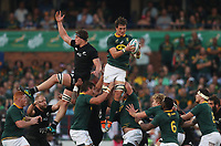 PRETORIA, SOUTH AFRICA - OCTOBER 06: Franco Mostert of South Africa out jumps Scott Barrett of the New Zealand (All Blacks) during the Rugby Championship match between South Africa Springboks and New Zealand All Blacks at Loftus Versfeld Stadium. on October 6, 2018 in Pretoria, South Africa. Photo: Steve Haag / stevehaagsports.com