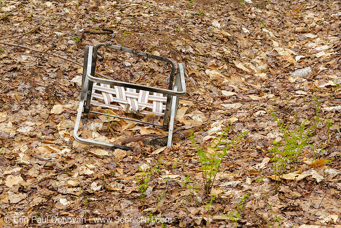 Poor Leave No Trace habits at a campsite along the side Sawyer River Trail in the White Mountains, New Hampshire.