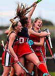 St Margarets celebrate. Federation 3rd place final between St Margarets College and Diocesan Auckland, North Harbour Hockey Stadium, Albany, Auckland, New Zealand.Saturday 3 September 2016. Photo: Simon Watts / www.bwmedia.co.nz