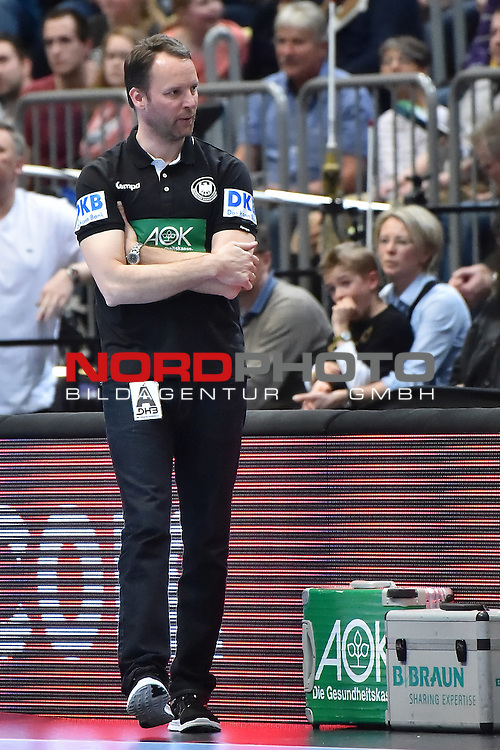 02.04.2016, LANXESS arena, K&ouml;ln , GER, Handball DHB Testl&auml;nderspiel,   Deutschland (GER) vs. D&auml;nemark ( DK) <br /> <br /> im Bild / picture shows: <br /> Dagur Sigurdsson Bundestrainer ( Deutschland/Germany) a<br /> <br /> <br /> <br /> Foto &copy; nordphoto / meuter