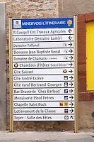 Domaine Taffanel, Domaine J B Senat, Chamas, Saisset, Andre Esteve, Bertrand Georges, Chez Barlaud, Pinol Freres, Chapelle Saint Roch,... Minervois. Languedoc. France. Europe.