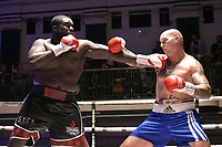 Ishmael Oladipo (black shorts) draws with Michal Lukcik during a Boxing Show at York Hall on 8th September 2018