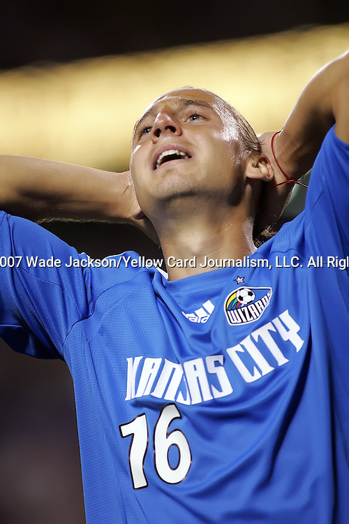 Sep 27 2007:  Eloy Colombano (16) of the Wizards shows his frustration after missing a shot at goal late in the match.  The MLS Kansas City Wizards were defeated by the visiting Los Angeles Galaxy 1-0 at Arrowhead Stadium in Kansas City, Missouri, in a regular season league soccer match.