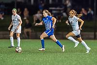 Boston, MA - Friday August 04, 2017: Allysha Chapman and Shea Groom during a regular season National Women's Soccer League (NWSL) match between the Boston Breakers and FC Kansas City at Jordan Field.