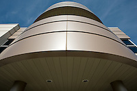 Close up photograph of an architectural feature on the Boehler Uddeholm corporate office in South Elgin, IL designed by Formations Architects.