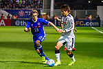 Shintaro Kurayama (r) of Kawasaki Frontale (JPN) battles for the ball with Jaimes McKee of Eastern SC (HKG) during the AFC Champions League 2017 Group G match between Eastern SC (HKG) and Kawasaki Frontale (JPN) at the Mongkok Stadium on 01 March 2017 in Hong Kong, China. Photo by Chris Wong / Power Sport Images