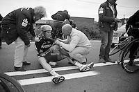 Luke Durbridge (AUS/Orica-GreenEDGE) crashed and had to abandon the race<br /> <br /> Ronde van Vlaanderen 2014
