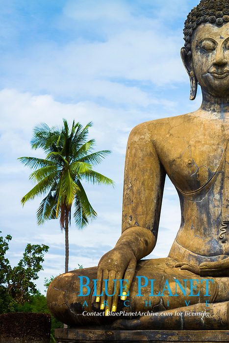 Buddha statue, Wat Mahathat, Sukhothai Historical Park, Thailand