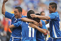 Rodolfo Zelaya Garcia (11) of El Salvador celebrates his score with teamates.  Trinidad & Tobago tied El Salvador 1-1 in the first round of the Concacaf Gold Cup, at Red Bull Arena, Monday July 8 , 2013.