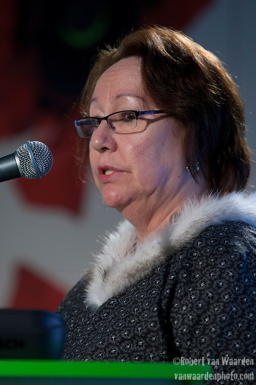 Sheila Watt - Cloutier, Canadian Inuit, speaks at the Women's Leadership on Climate Justice - A Global Perspective. December 14, 2009.  (Images free for Editorial Web usage for Fresh Air Participants during COP 15. Credit: Robert vanWaarden)