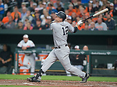 New York Yankees third baseman Chase Headley (12) flies out to center field in the second inning against the Baltimore Orioles at Oriole Park at Camden Yards in Baltimore, MD on Tuesday, May 30, 2017.<br /> Credit: Ron Sachs / CNP<br /> (RESTRICTION: NO New York or New Jersey Newspapers or newspapers within a 75 mile radius of New York City)